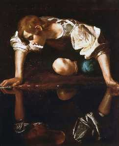 Caravaggio (Michelangelo Merisi) - Narcissus - (Famous paintings reproduction)