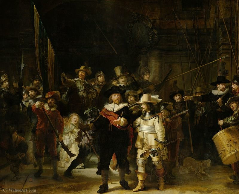 Night Watch, Oil On Canvas by Rembrandt Van Rijn  (order Fine Art oil painting Rembrandt Van Rijn)