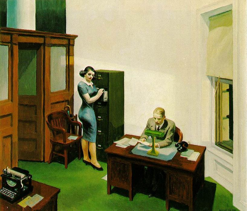 Office at Night, 1940 by Edward Hopper (1931-1967, United States) | Art Reproduction | WahooArt.com