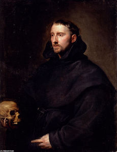 Anthony Van Dyck - Portrait Of A Monk Of The Benedictine Order, Holding A Skull