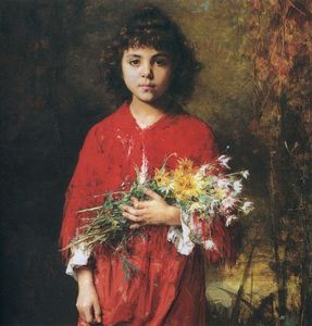 Alexei Alexeievich Harlamoff - Portrait of a young girl with flowers