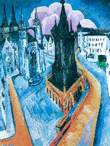 Ernst Ludwig Kirchner - The Red Tower at Halle - (paintings reproductions)