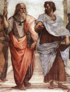 Raphael (Raffaello Sanzio Da Urbino) - The School of Athens (detail 1) (Stanza della Segnatura) - (Famous paintings reproduction)