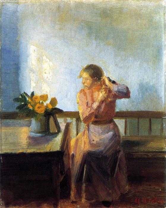 Seated Woman Weaving Her Hair by Anna Kirstine Ancher (1859-1935, Denmark) | Art Reproductions Anna Kirstine Ancher | WahooArt.com