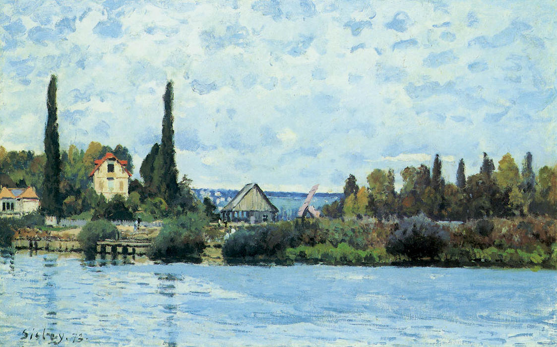 The Seine at Bougival, 1872 by Alfred Sisley (1839-1899, France) | Art Reproductions Alfred Sisley | WahooArt.com