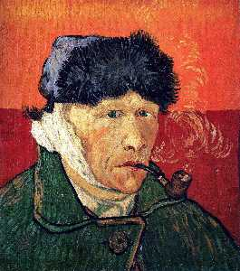 Vincent Van Gogh - Self Portrait with Bandaged Ear and Pipe - (Famous paintings reproduction)