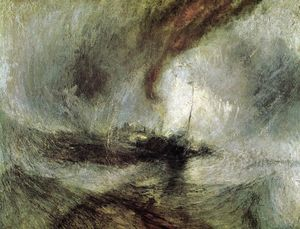 William Turner - Show Storm - Seam-Boat off a Harbour's Mouth Making Signals in Shallow Water, and Going by the Lead. The Author was in this Storm on the Night the Ariel Left Harwich - (Famous paintings reproduction)