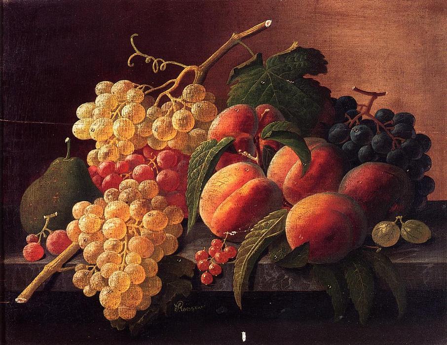 5a6611ba6 ainda vida com pêssegos uvas e uma pera por Severin Roesen (1815-1872