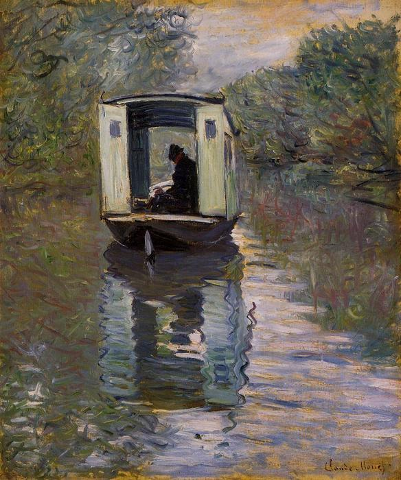 The Studio Boat, 1876 by Claude Monet (1840-1926, France) | Reproductions Claude Monet | WahooArt.com