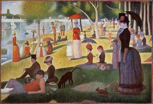 Georges Pierre Seurat - A Sunday Afternoon on the Island of La Grande Jatte - (Famous paintings reproduction)