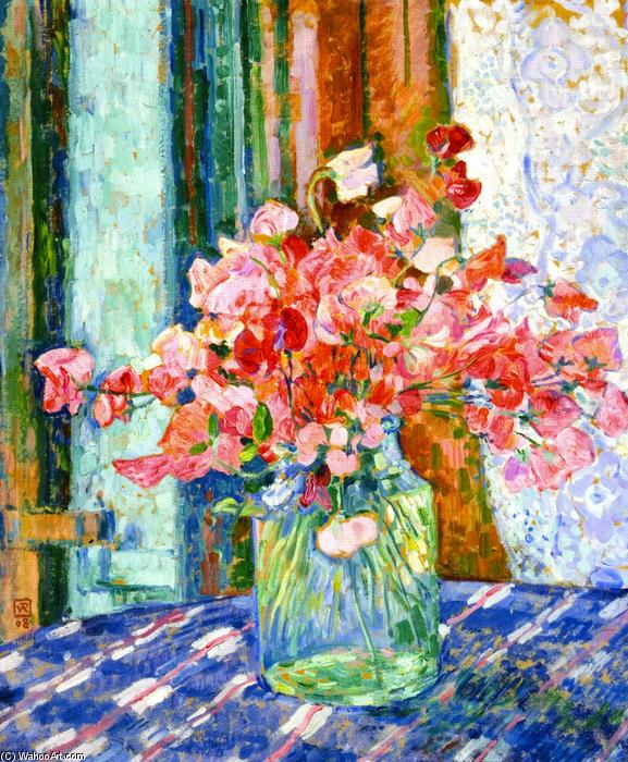 Sweet Peas (also known as Pois de senteur), 1908 by Theo Van Rysselberghe (1862-1926, Belgium) | Painting Copy | WahooArt.com