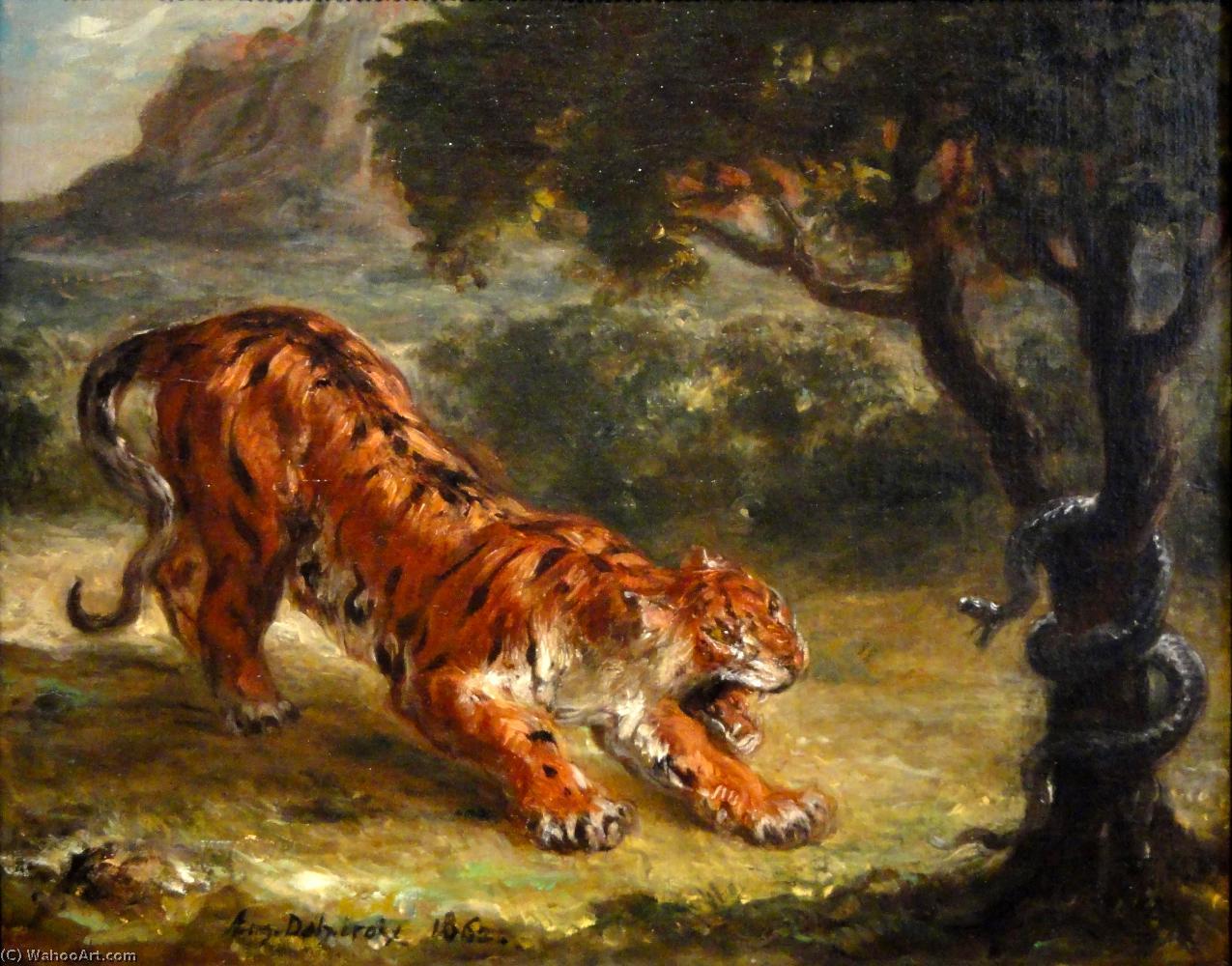 tigre de Grondement au une serpent , 1862 de Eugène ...