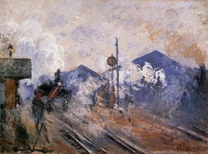Claude Monet - Track Coming out of Saint-Lazare Station - (paintings reproductions)