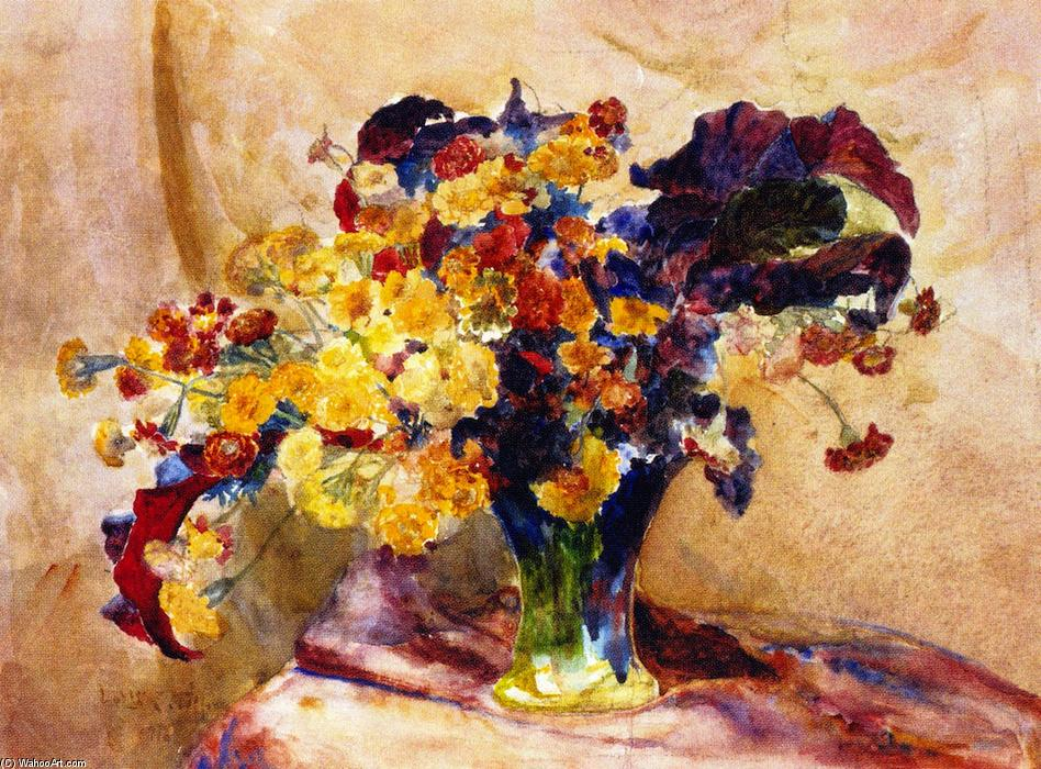 Untitled (also known as Flowers in a Vase), 1916 by Louis Comfort Tiffany (1848-1933, United States) | Paintings Reproductions Louis Comfort Tiffany | WahooArt.com