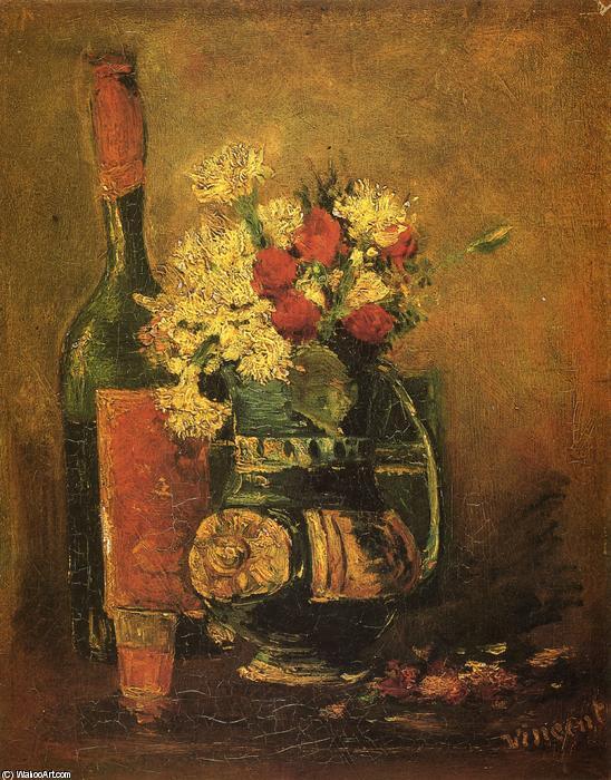 Vase with Carnations and Bottle - Vincent Van Gogh