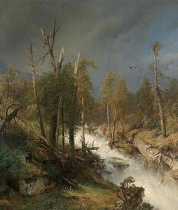 Herman Herzog - Waterfall in the Mountains