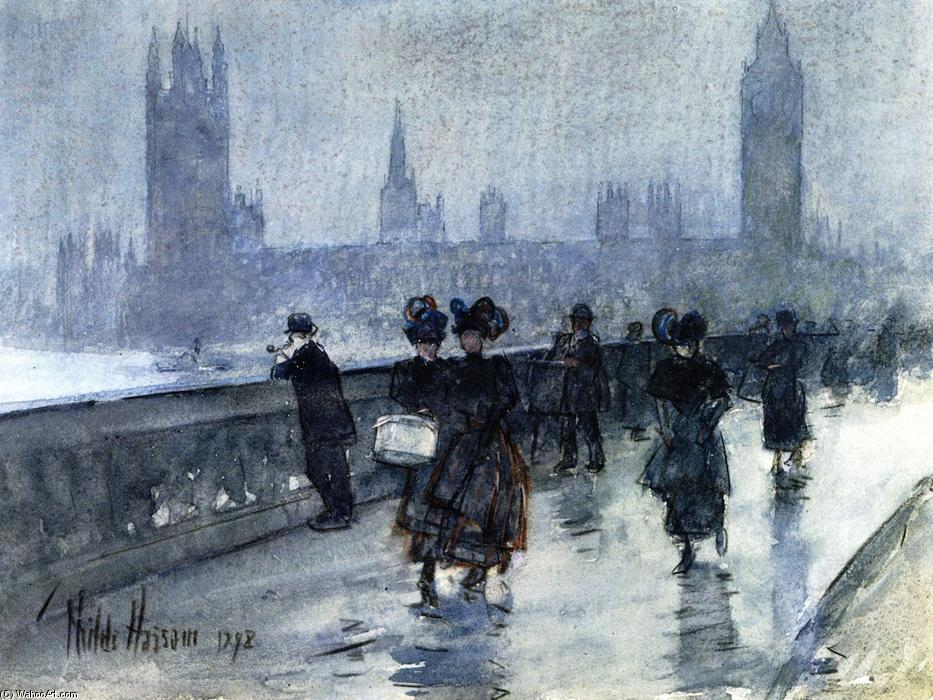 Westminster Bridge, 1898 by Frederick Childe Hassam (1859-1935, United States) | Oil Painting | WahooArt.com