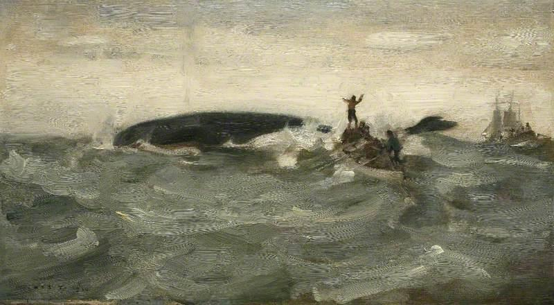 Whale Blowing, 1910 by Henry Scott Tuke (1858-1929, United Kingdom) | Reproductions Henry Scott Tuke | WahooArt.com