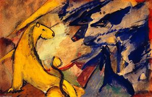 Franz Marc - Yellow Lion, Blue Foxes, Blue Horse
