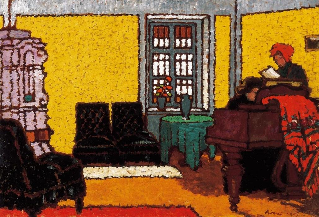 WahooArt-Framed-Painting Framed Oil Painting - 16 x 11 inches / 41 x 28 CM - Jozsef Rippl Ronai - Yellow Piano ...