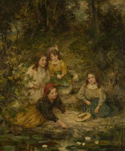 William Stewart Macgeorge - Four Children By A Lily Pond