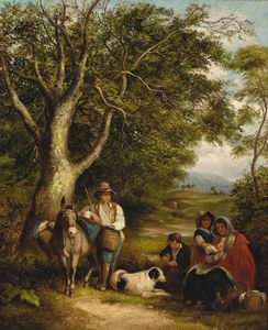 James Stark - Travellers Resting On A Wooded Track