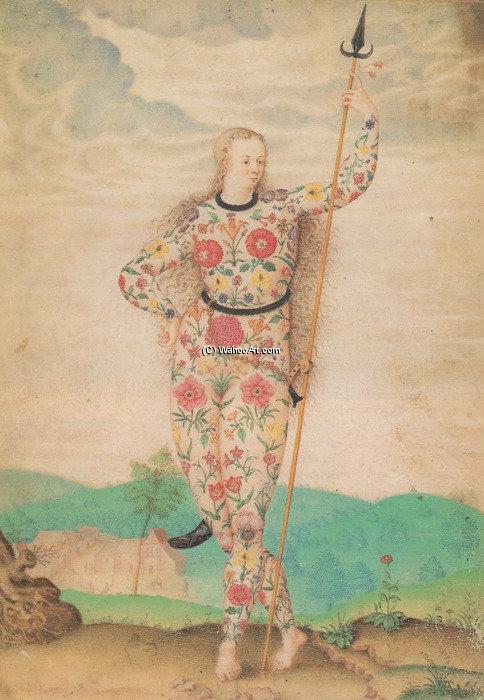 Um Jovem Filha Dos O Pictos Por Jacques Le Moyne De Morgues 1533 1588 Reproduções De Belas Artes Jacques Le Moyne De Morgues Wahooart Com