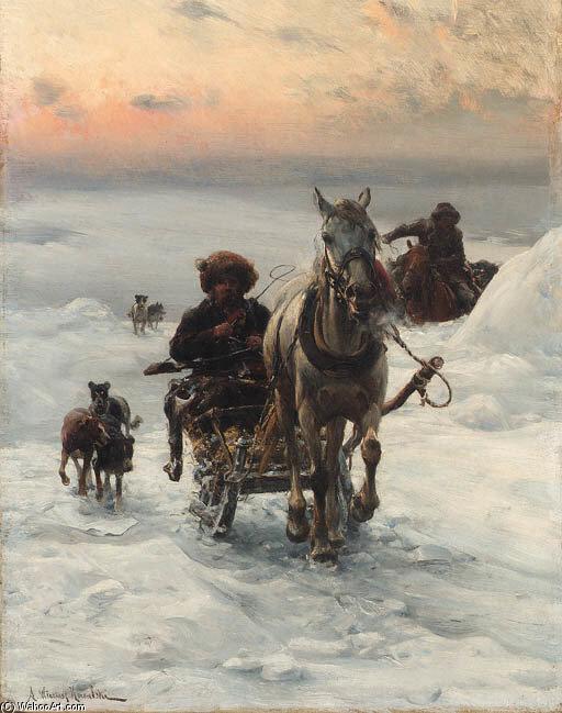 Cosacos Regresar Casa Para El Nieve De Alfred Wierusz