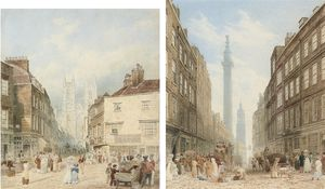 Frederick Nash - View Of Tothill Street With Westminster Abbey Beyond; And View Of Gracechurch Street With The Monument And The Church Of St. Magnus The Martyr Beyond