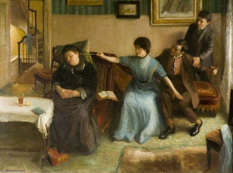 Portrait Of The Artist`s Family, A Playful Scene by Mark Gertler