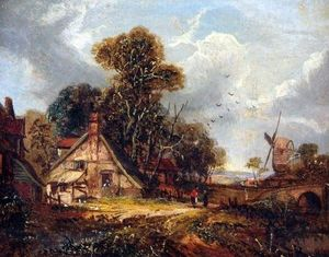 John Paul - East Anglian Landscape With Figures By A Cottage, Windmill Beyond