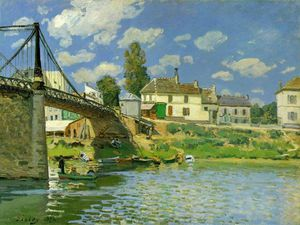 Alfred Sisley - Bridge at Villeneuve la Garenne - - - (Famous paintings reproduction)