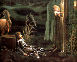 Edward Coley Burne-Jones - the dream of launcelot at the chapel of the holy grail