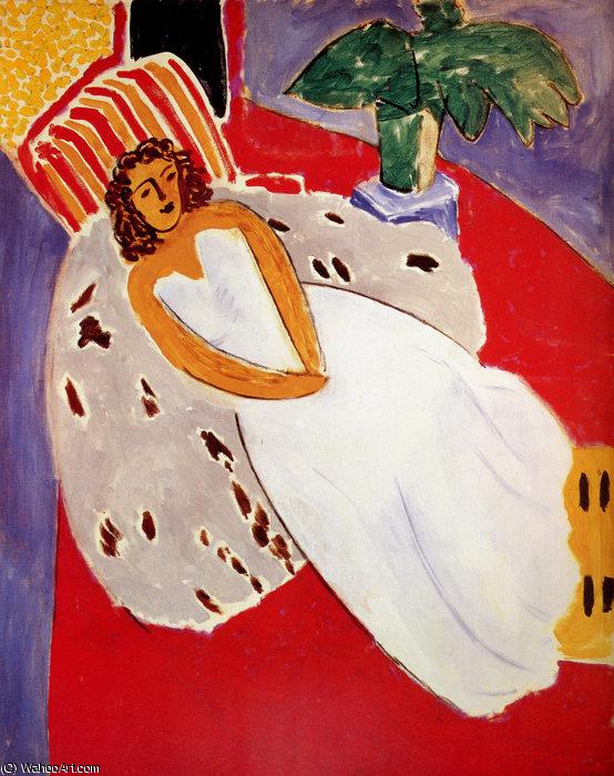 Jeune Femme en blanc, fond rouge Huile sur Toile Paris, Musée national d'Art Moderne - Henri Matisse