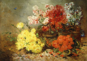 Eugene Henri Cauchois - Daisies, Begonia, And Other Flowers In Pots