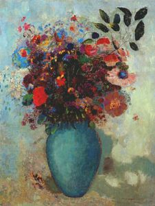 Odilon Redon - flowers in turquoise vase