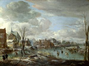 Aert Van Der Neer - A Frozen River near a Village, with Golfers and Skaters