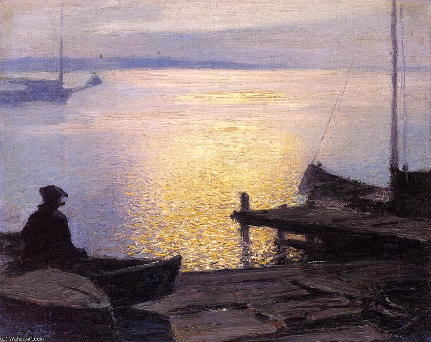 Along the Mystic River by Edward Henry Potthast (1857-1927, United States) | Paintings Reproductions Edward Henry Potthast | WahooArt.com