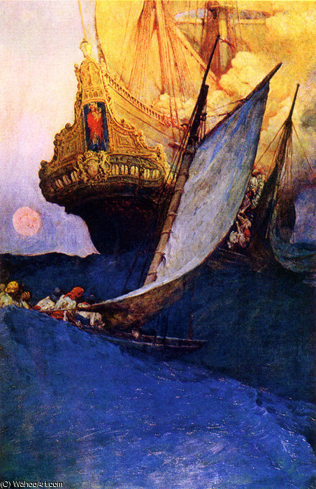 Attack on a Galleon, 1905 by Howard Pyle (1853-1911, United States) | Museum Art Reproductions Howard Pyle | WahooArt.com