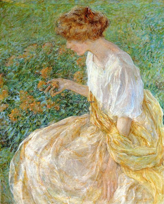 The Yellow Flower aka The Artist-s Wife in the Garden by Robert Lewis Reid (1862-1929, United States) | Museum Quality Copies Robert Lewis Reid | WahooArt.com