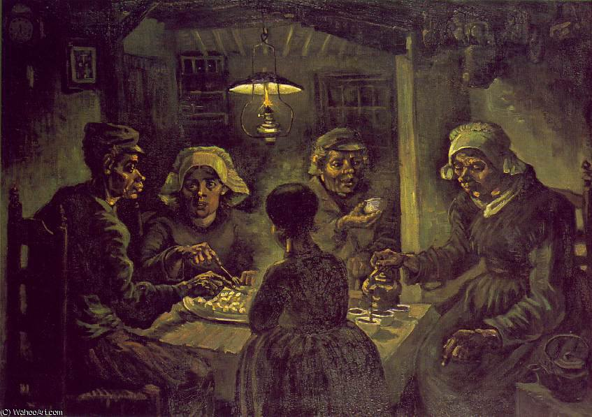 The potato eaters, Vincent van Gog, 1885 by Vincent Van Gogh (1853-1890, Netherlands) | Paintings Reproductions Vincent Van Gogh | WahooArt.com