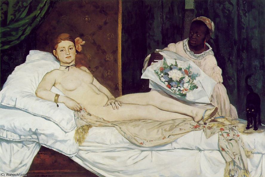 Olympia, Musee d`Orsay, Paris, 1863 by Edouard Manet (1832-1883, France) | Art Reproductions Edouard Manet | WahooArt.com