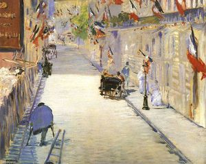 Edouard Manet - Rue Mosnier with Flags, J. Paul Getty Museum, Ma - (oil painting reproductions)