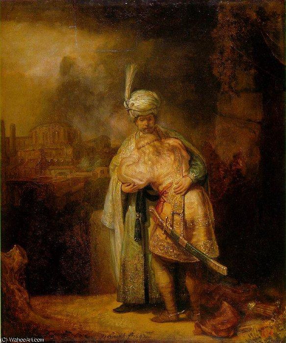 Davi E Jonatas Eremitaget 1642 Por Rembrandt Van Rijn 1606 1669