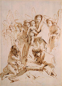 Giovanni Battista Tiepolo - The madonna and child surrounded by angels appearing to a kneeling pilgrim and a seated saint reading a book