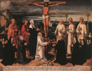 Anton Woensam Von Worms - Christ on the Cross with Carthusian Saints
