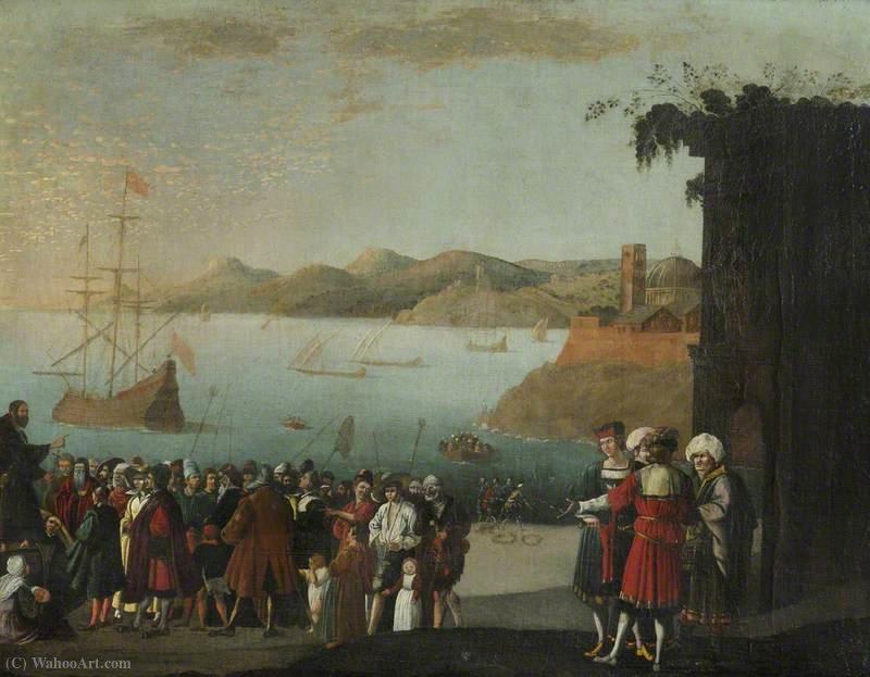Scene Painting Port By Tassi1580 Agostino 1644ItalyOil FJTclK13