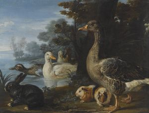 David De Coninck - Ducks, guinea pigs and a rabbit in a wooded landscape beside a lake