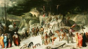 Karel Van Mander - Landscape with snow and the Crucifixion