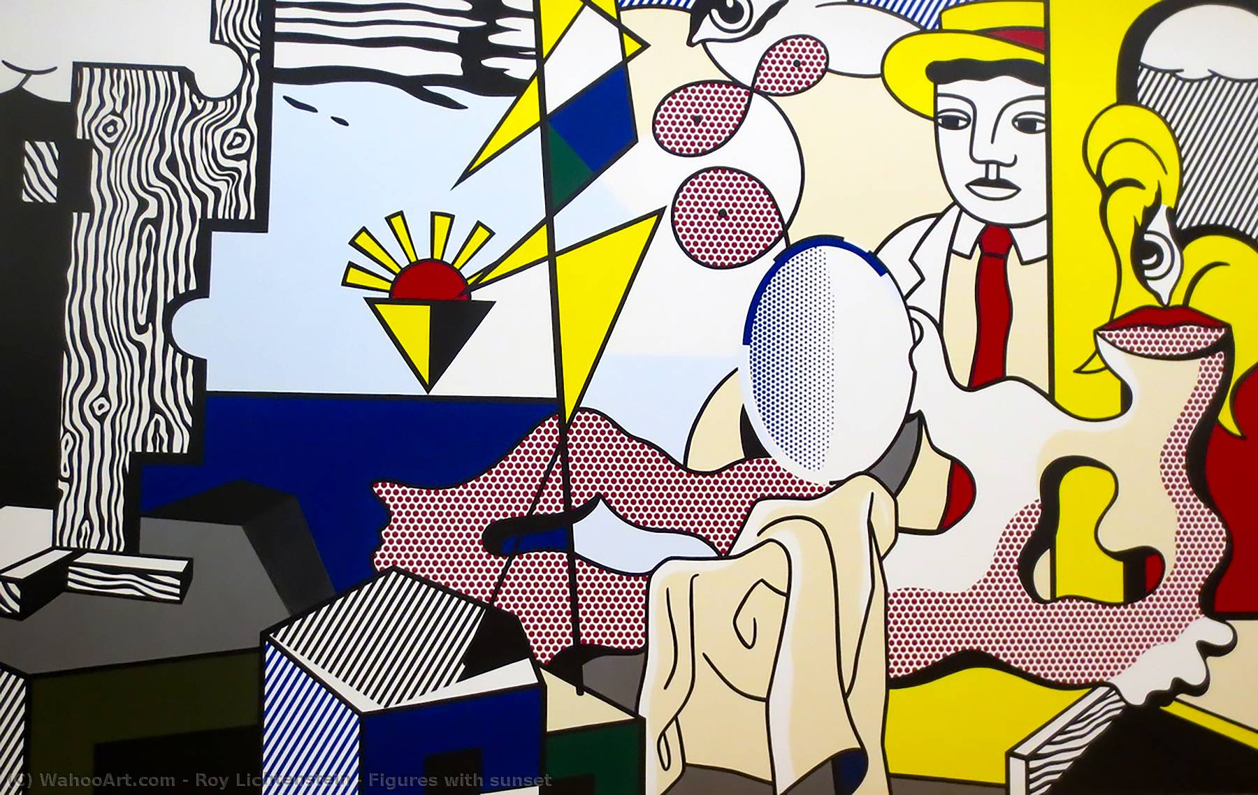 Figures with sunset by Roy Lichtenstein (1923-1997, United States) | Art Reproduction | WahooArt.com
